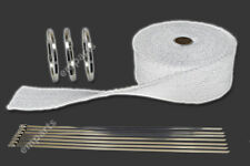 10M WHITE HEAT WRAP EXHAUST MANIFOLD DOWNPIPE + 10 CABLE TIES 36cm 1022 Degree