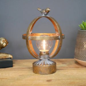 LED Bird Lamp Antique Gold Battery Operated Oval Desk Light Distressed Metal NEW