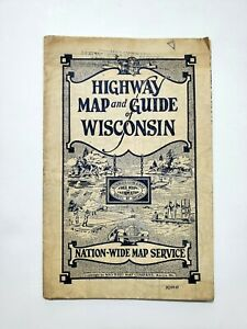 1930 Highway Map and Guide of Wisconsin Mid-West Map Company Aurora, Missouri