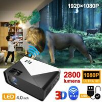Android 6.0 4K 3D WiFi Wireless LED Projector Bluetooth 1080P Smart Home Theater