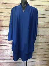 Vintage Gilberti Blue Dress Set Jacket Size S/M Pleated Made in USA