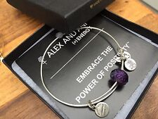 BOX & CARD ALEX and ANI PLUM SHORT And SWEET Beaded SILVER Bangle BRACELET