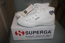 Superga NEW IN BOX WHITE Canvas Hi Tops FLAG Slim Sole Sneakers Women's Size 8
