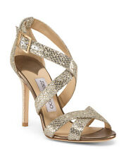 NIB Jimmy Choo Lang Strappy Gold Glitter Ankle Cage Sandals Shoes Size 36