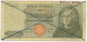 5000 LIRE FALSO D'EPOCA CRISTOFORO COLOMBO I TIPO MEDUSA 04/01/1968 MB/MB+