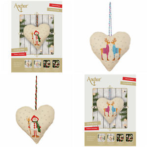 Anchor Christmas Decoration - Snowman Reindeer Heart Counted Cross Stitch Kit