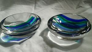 Pair of Vintage Seguso Murano Glass bowls MCM mid-century Signed