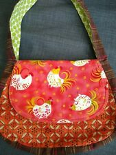 Shoulder bag chicken Keeta Collection orange brown fabric hens