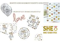 ENGAGEMENT ENGAGED PARTY DECORATIONS BALLOONS TABLEWARE ETC