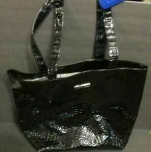 MARY KAY LARGE BLACK PATENT LEATHER SHOULDER BAG PURSE TOTE ANIMAL PRINT  RP