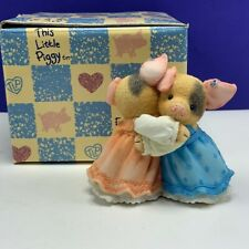 This little Piggy Enesco vintage pig figurine nib box Always there need Hog hug