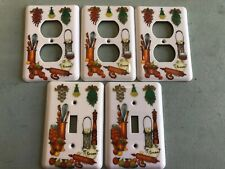 Vintage Light Switch Cover And Electric Plug Cover Set 5pc Total