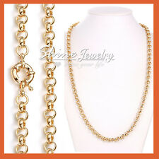 14K YELLOW GOLD FILLED BELCHER CHAIN RING LINKS MENS WOMENS SOLID NECKLACE 60CM
