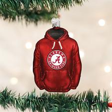 University of Alabama Hoodie Glass Ornament Old World Christmas Crimson Tide