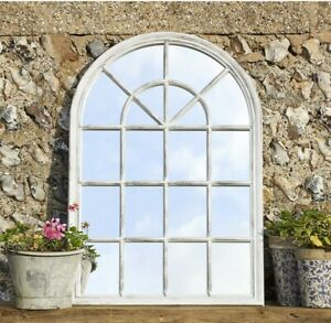 Rustic Metal Frame Window Arched Wall Hanging Mirror H97cm x W65cm