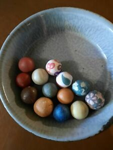 13 Early 1900's Tennessee Chinese Laborers Hand Made/Painted Clay Marbles