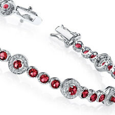 925 Sterling Silver CZ Red Rubies Tennis Bracelet with Cubic Zirconias
