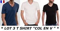 LOT 3 T-SHIRT HOMME COL EN V 100% COTON DEBARDEUR MARCEL POLO MAILLOT DE CORPS