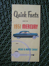 1951 Mercury QUICK FACTS sales brochure with MERC-O-MATIC Drive
