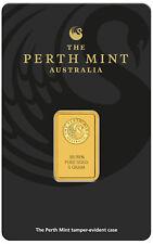 5 gram Perth Mint Gold Bar .9999 Fine in Assay - New design updated in 2018