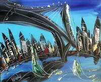 BRIDGE CITYSCAPE   PAINTING SIGNED Abstract Modern CANVAS Original FINE ART