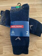 MARKS & SPENCER M&S Mens Pack of 2 Navy Blue Wool Blend Thermal Warm Socks 6-12