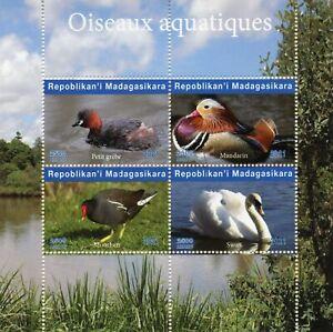 Madagascar Water Birds on Stamps 2021 CTO Mandarin Ducks Grebes Swans 4v M/S I