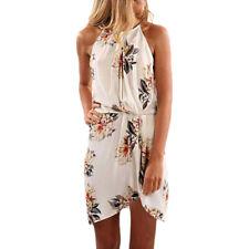 2019 Summer Women Print Sleeveless Dress Halter Neck Floral  Casual Mini Dresses
