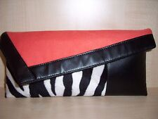 BURNT ORANGE, BLACK & ZEBRA print faux leather & velboa clutch bag made in UK.