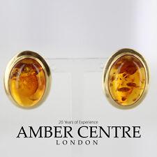 ITALIANO FATTO classico color cognac Ambra Orecchini a perno in 9 kt Oro GS0019