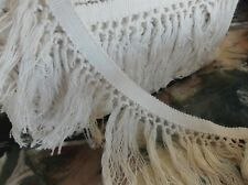 5 YARDS 4 1/2 INCH WIDE NATURAL 100% COTTON BRAID TOP FRINGE