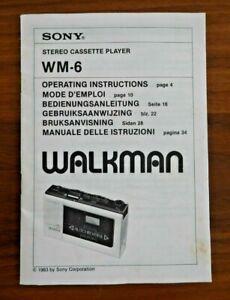 SONY WALKMAN WM-6 STEREO CASSETTE PLAYER INSTRUCTIONS MANUAL ONLY 1983    K186