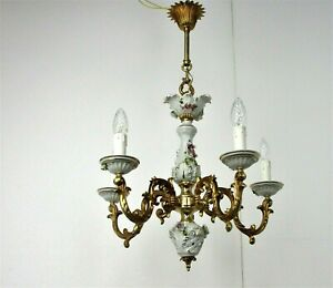 Vintage Capodimonte style chandelier 5 arm Lights Porcelain Italian Gorgeous