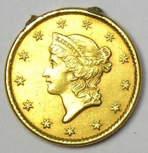 1850-C Liberty Gold Dollar G$1 - AU Detail (Jewelry Damage). Rare Charlotte Coin