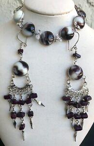 Peruvian Purple White Glass Bracelet and Earrings Set Peruvian Alpaca Silver