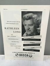 Kathleen Long piano - Decca Records Advertisement 1955 Faure Francaix