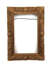 Antique Primitive Folk Art Wood Hand Carved Ornate Picture Frame Fits 5.5 x 3.5