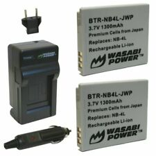 Wasabi Power Battery (2-Pack) and Charger for Canon NB-4L
