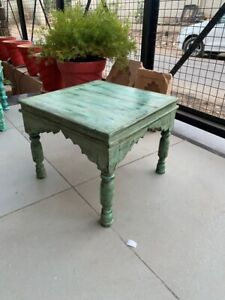 Vintage Old Wooden Hand Carved Green Rustic Painted Arch Design Coffee Table