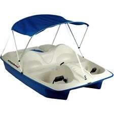Paddle Boat w/ Canopy 5 Person Pontoon Pedal Raft Lake River Water Fishing Blue