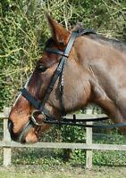 Windsor Equestrian Leather Hunter Bridle + rubber grip reins - Brown/Black