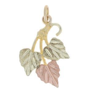 Stamper Black Hills Gold Pendant - 12k Yellow Gold Grape Leaf Cluster