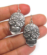 Sugar Skull Earrings Bling Rocker Hot Rod Motorcycle Biker Punk Goth Day of Dead