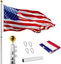 New listing WeValor 20Ft Telescoping Flag Pole Kit, Heavy Duty 16 Gauge Aluminum Outdoor 00004000