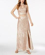 Adrianna Papell Beige 2Pc Embellished Sequined Beaded Long Gown Formal Dress 4