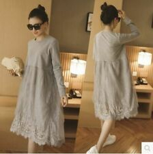 Hollow Dress For Pregnant Lady Elegant Casual Maternity Nursing Lace Clothes New