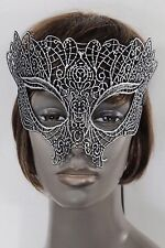 Women Men Head Half Face Eyes Mask Black Fabric Halloween Party Costume Silver