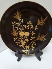 Japanese Vintage Lacquer Ware Plate Tray Wood Black Gold-inlaid  6.5