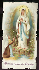 ANTIQUE HOLY CARD OF OUR LADY OF LOURDES AND ST BERNADETTE