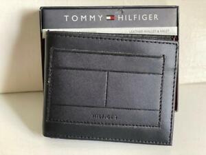 TOMMY HILFIGER BLACK RFID PROTECTION BILLFOLD BIFOLD LEATHER & VALET WALLET $55